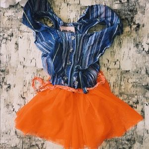 Little Lass Denim and Tutu Dress
